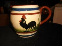 VINTAGE GLAZED MILK JUG LONGPARK TORQUAY MOTTO WARE COCKEREL GUDE FOLKS SCARCE